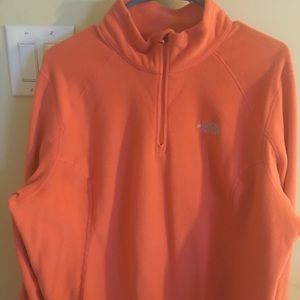 Orange North Face Pullover Fleece